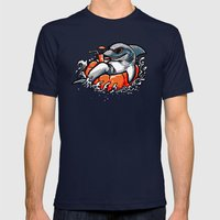 Summer Pool Shark Mens Fitted Tee Navy SMALL