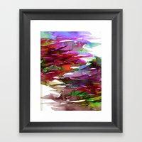 FERVOR 3 Colorful Bold Abstract Autumn Fall Crimson Red Purple Mauve Green Watercolor Painting Art Framed Art Print