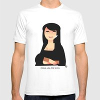 Mona Lisa Pop Icon Mens Fitted Tee White SMALL