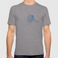 Typographic Alaska - Blue Watercolor print Mens Fitted Tee Athletic Grey SMALL