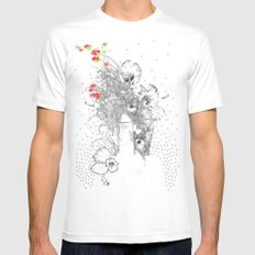Rainbow SMALL White Mens Fitted Tee