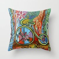 Onward-Whimsical Tricycle Painting Throw Pillow