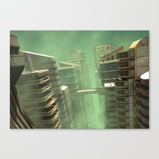 3D Illustration Futuristic City Canvas Print