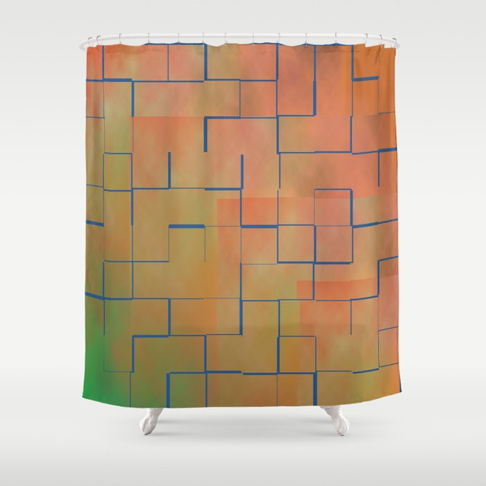 Coral And Teal Shower Curtain
