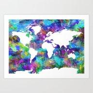 Art Print featuring World Map by Bekim ART