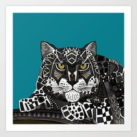 Snow Leopard Teal Art Print
