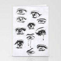 anime Stationery Cards featuring anime eyes by CALM OCEANS™