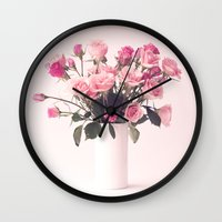 Pretty Peonies in a White Vase Wall Clock