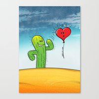 Spiky Cactus Flirting with a Heart Balloon Canvas Print