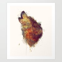 wolf Art Prints featuring Wolf by Amy Hamilton