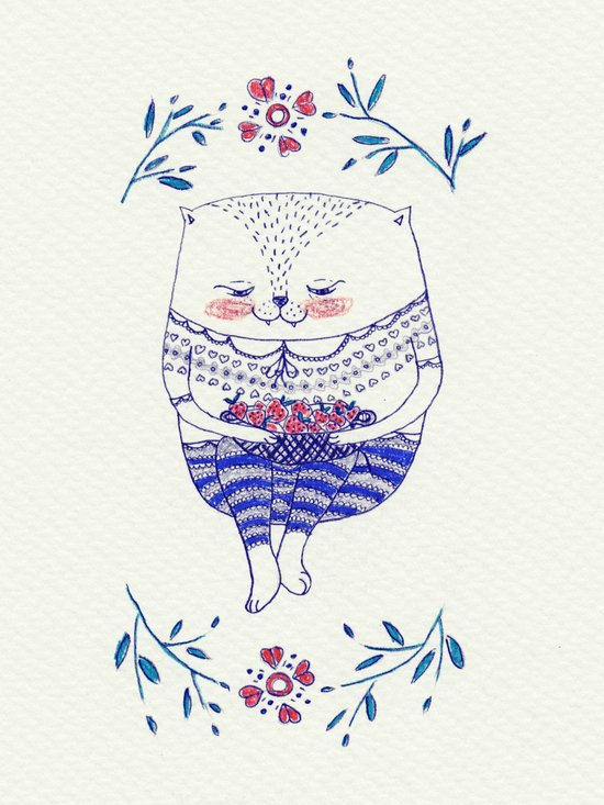 strawberry cat Canvas Print