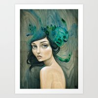 mermaid Art Prints featuring Mermaid by Mandy Tsung
