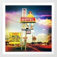 Cowboy Motel Art Print