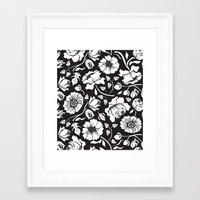 Black Russian Floral Framed Art Print