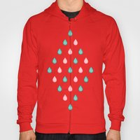 Turquoise and coral raindrops Hoody