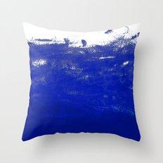 Water waves ocean sea bright blue modern painting minimal monochromatic urban dorm college art Throw Pillow
