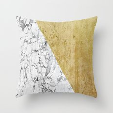 Marble vs GOld Throw Pillow