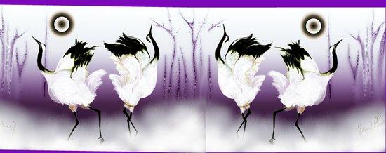 japanese dancing cranes Art Print