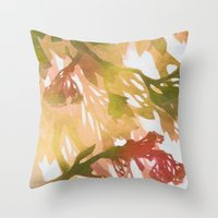 Morning Blossoms 2 - Oli… Throw Pillow