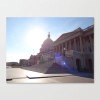 The State House With Fla… Canvas Print