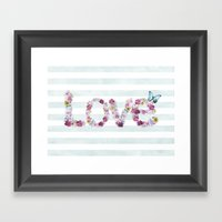 SPRING FLORAL LOVE Framed Art Print