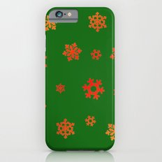 Snowflakes (Red & Gold on Green) Slim Case iPhone 6s