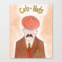 Cats As Hats - Man In Tw… Canvas Print