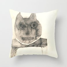 cat on the table Throw Pillow
