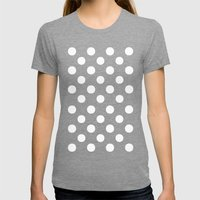 Polka Dots (White/Salmon) Womens Fitted Tee Tri-Grey SMALL