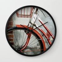 Red bicycle Wall Clock