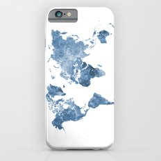 World map in watercolor blue iPhone 6s Slim Case
