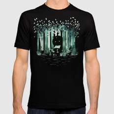 A Quiet Spot (in green) SMALL Mens Fitted Tee Black