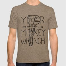 Year of the Monkey Wrench Mens Fitted Tee Tri-Coffee SMALL