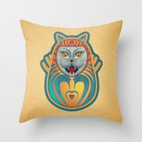 Gato Diabólico  Throw Pillow