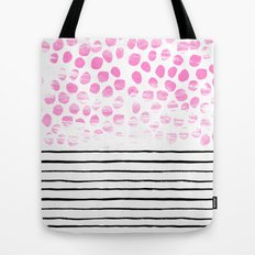 Dot Stripe hot pink black and white minimal abstract painting pattern trendy boho urban bklyn art Tote Bag