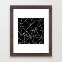 Abstract Dotted Lines White on Black Framed Art Print