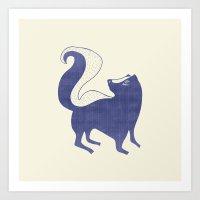 Blue Skunk Art Print