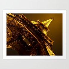 Golden Eiffel Tower Art Print