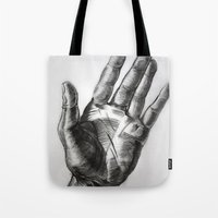 hand drawing hand Tote Bag