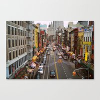 Busy Day in Chinatown, New York City Canvas Print
