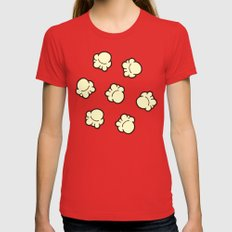 Popcorn Pattern Womens Fitted Tee Red SMALL