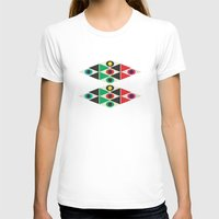 triangle pattern Womens Fitted Tee White SMALL