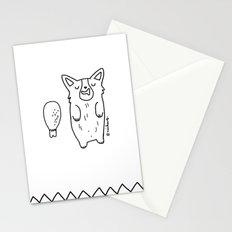 Corgi Sleeping with a turkey leg Stationery Cards