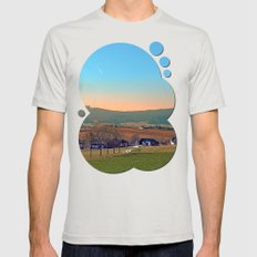 Avenue with trees, sunset and panorama | landscape photography Mens Fitted Tee Silver SMALL