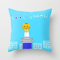 Greek Cat Eating Ice Cream Throw Pillow