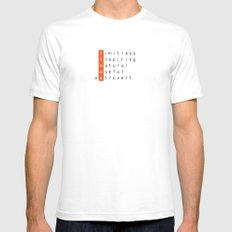Linux - limitless, inspiring, natural, useful, extrovert - vertical SMALL White Mens Fitted Tee