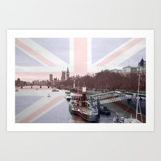 London Skyline and Union Jack Flag  Art Print