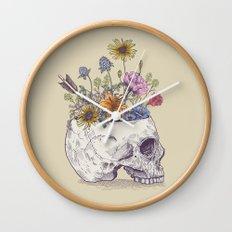Half Skull Flowers Wall Clock