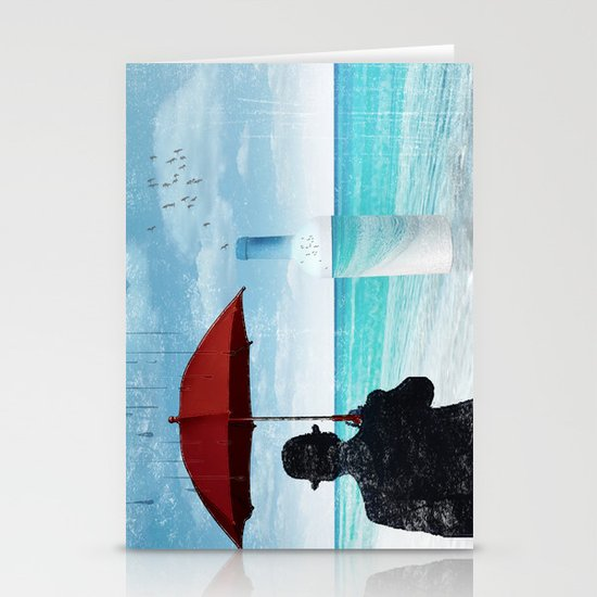 Chaplin at the beach in the rian Stationery Card