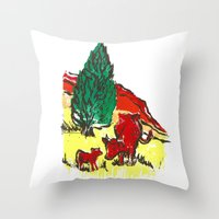 Big Moo, Wee Moo (colore… Throw Pillow